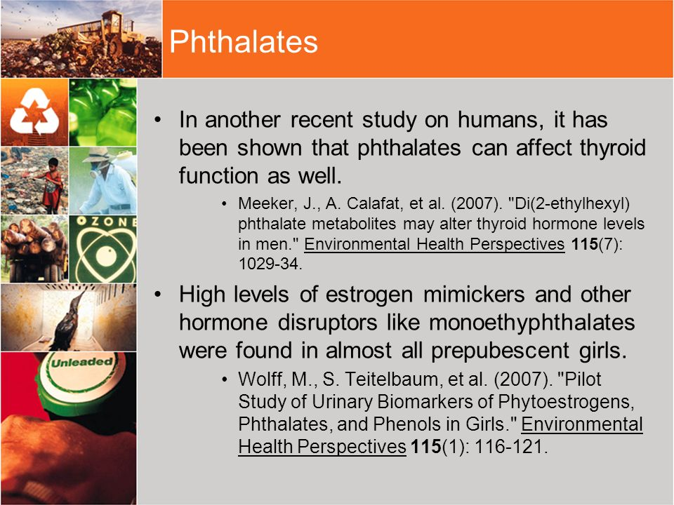 PhthalatesIn another recent study on humans, it has been shown that phthalates can affect thyroid function as well.
