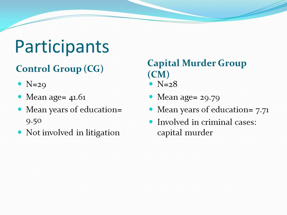 Participants Capital Murder Group (CM) Control Group (CG) N=29