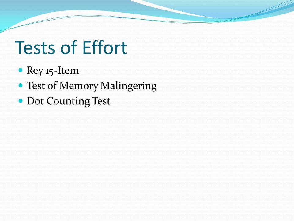 Tests of Effort Rey 15-Item Test of Memory Malingering