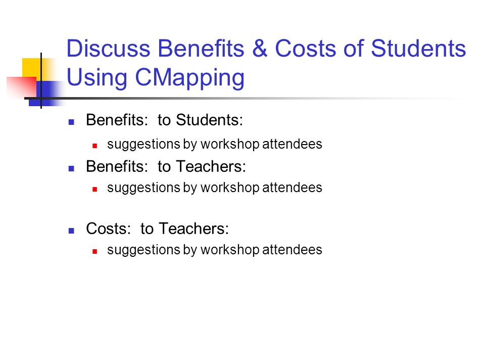 Discuss Benefits & Costs of Students Using CMapping