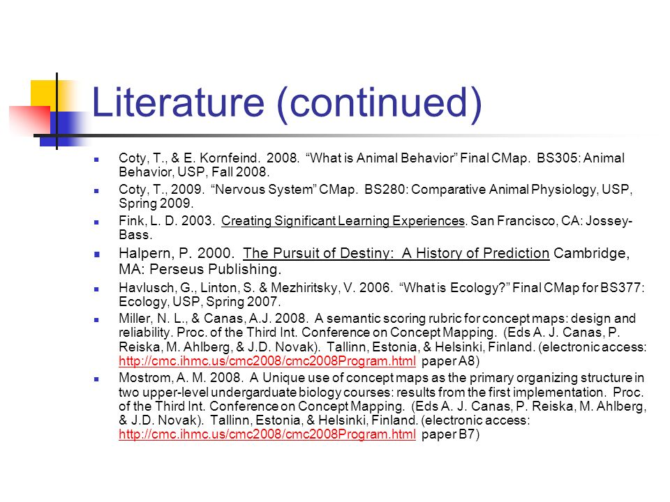 Literature (continued)