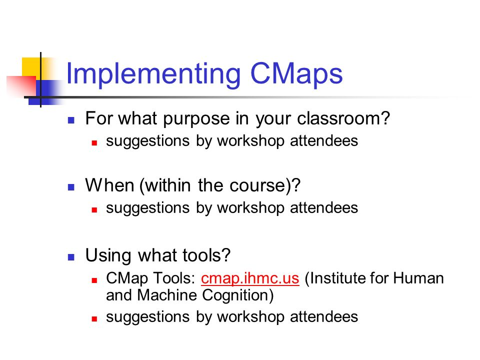Implementing CMaps For what purpose in your classroom