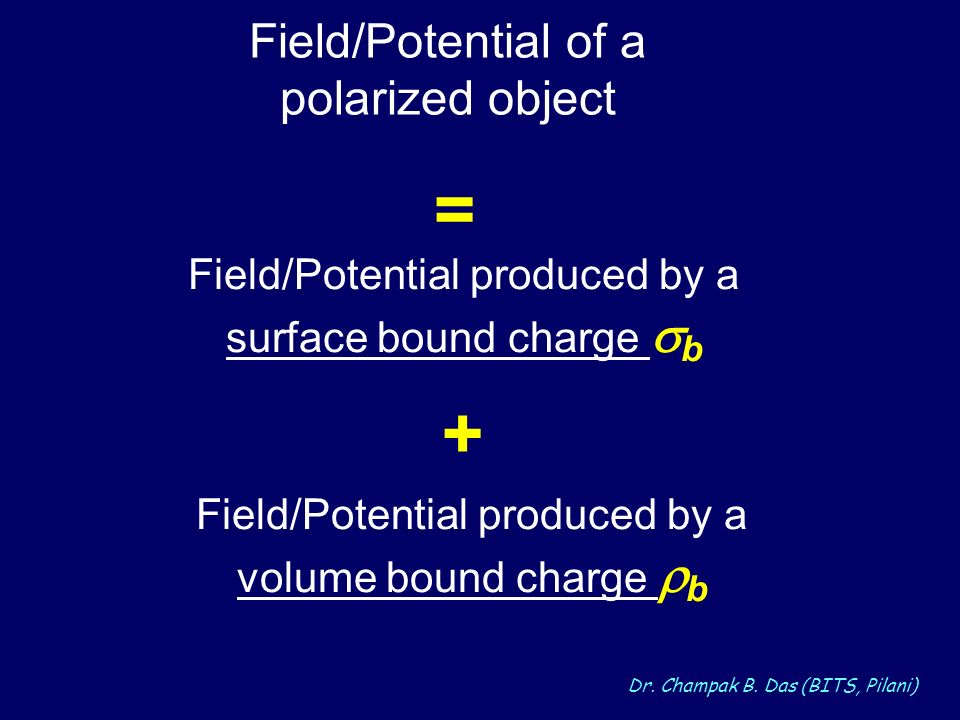 = + Field/Potential of a polarized object