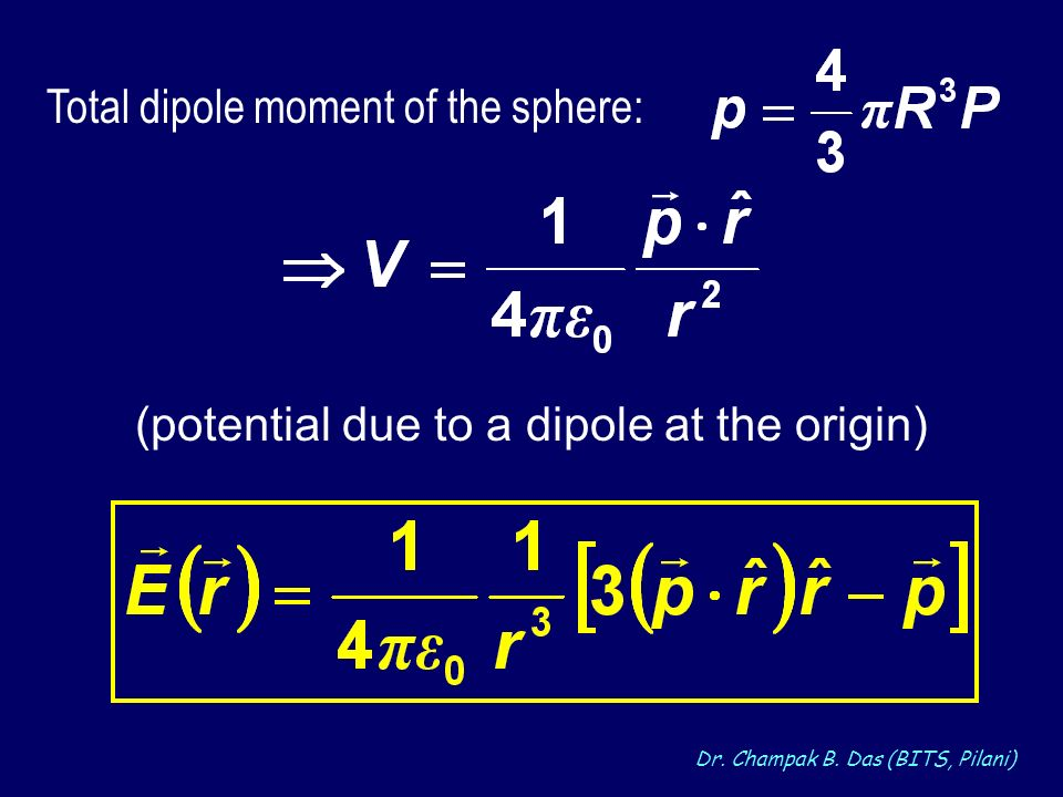 Total dipole moment of the sphere: