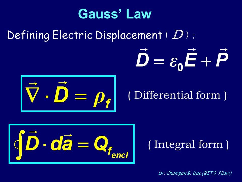 Gauss' Law Defining Electric Displacement ( D ) :