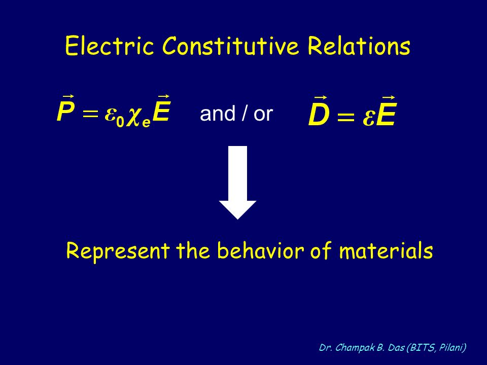 Electric Constitutive Relations