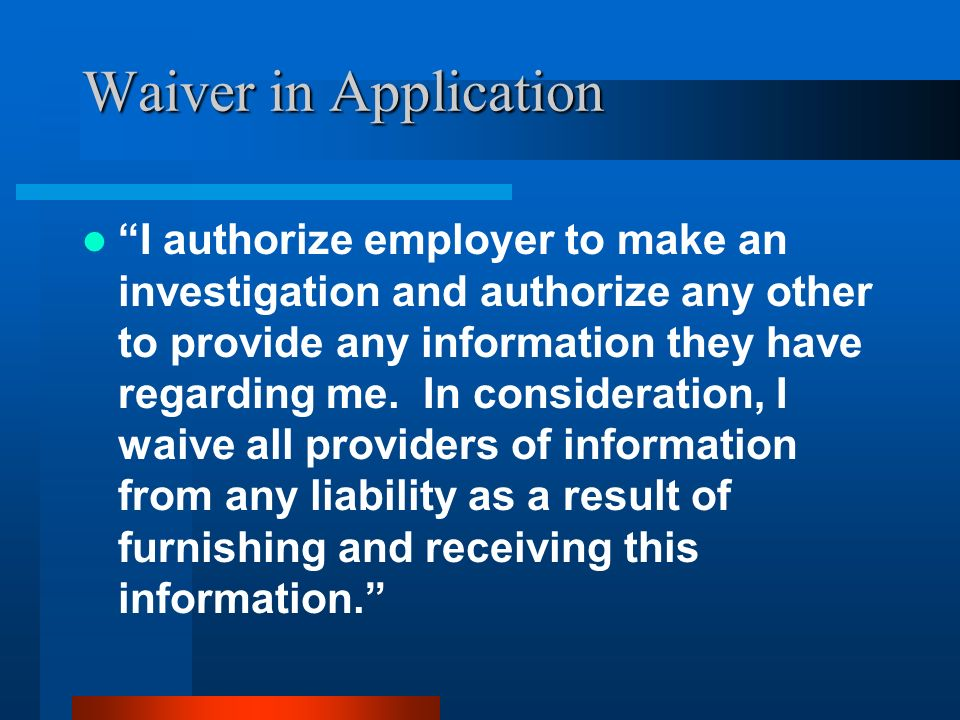 Waiver in Application