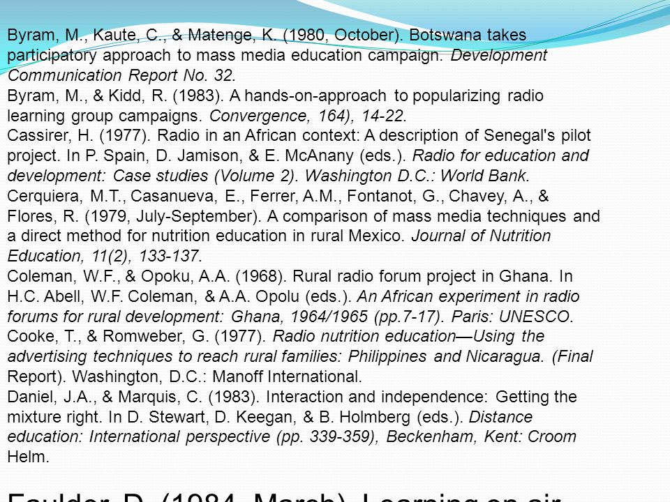 Faulder, D. (1984, March). Learning on air. Media in Education and
