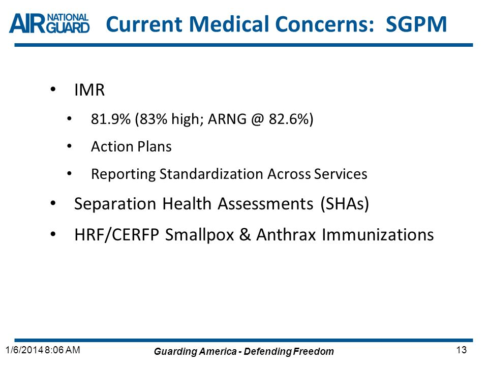 Current Medical Concerns: SGPM