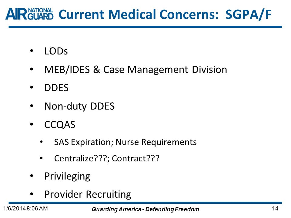 Current Medical Concerns: SGPA/F