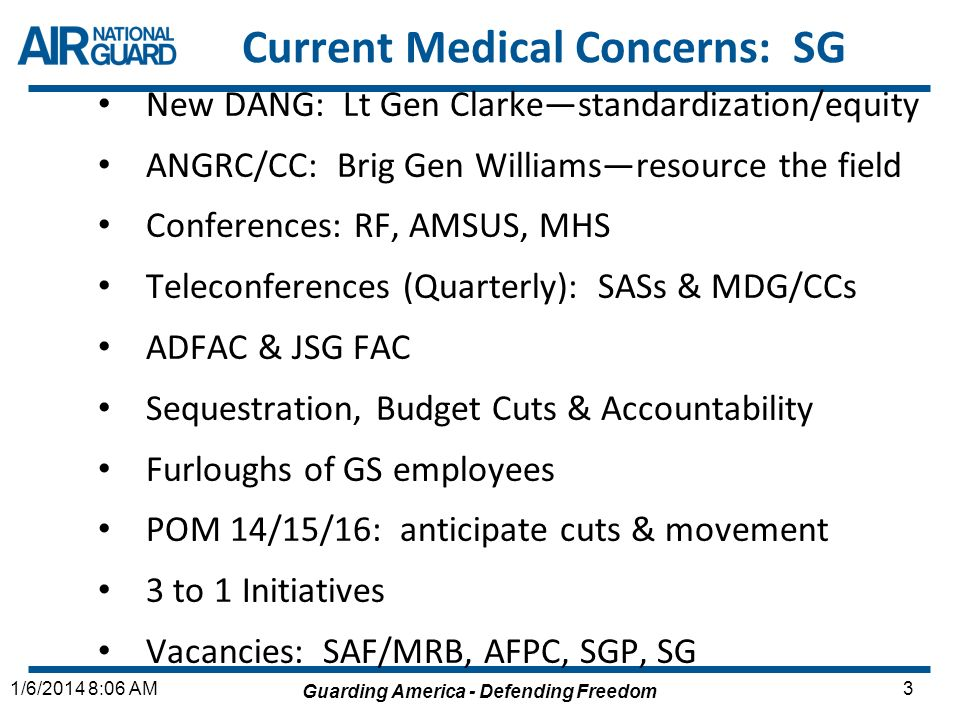 Current Medical Concerns: SG