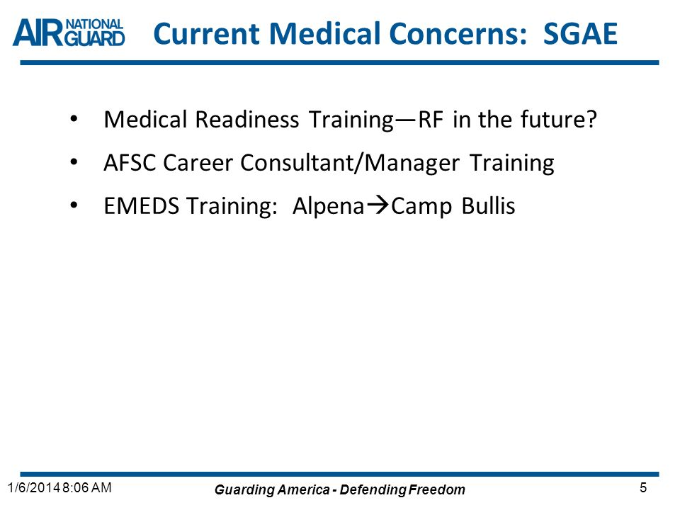 Current Medical Concerns: SGAE