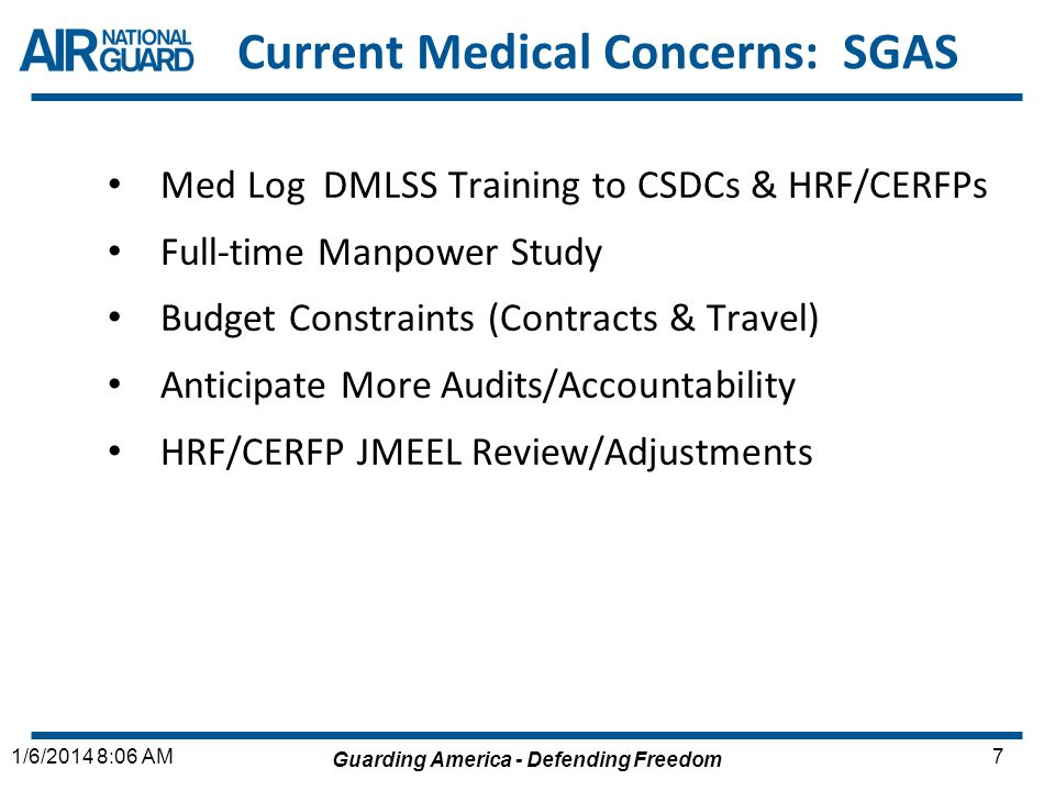 Current Medical Concerns: SGAS