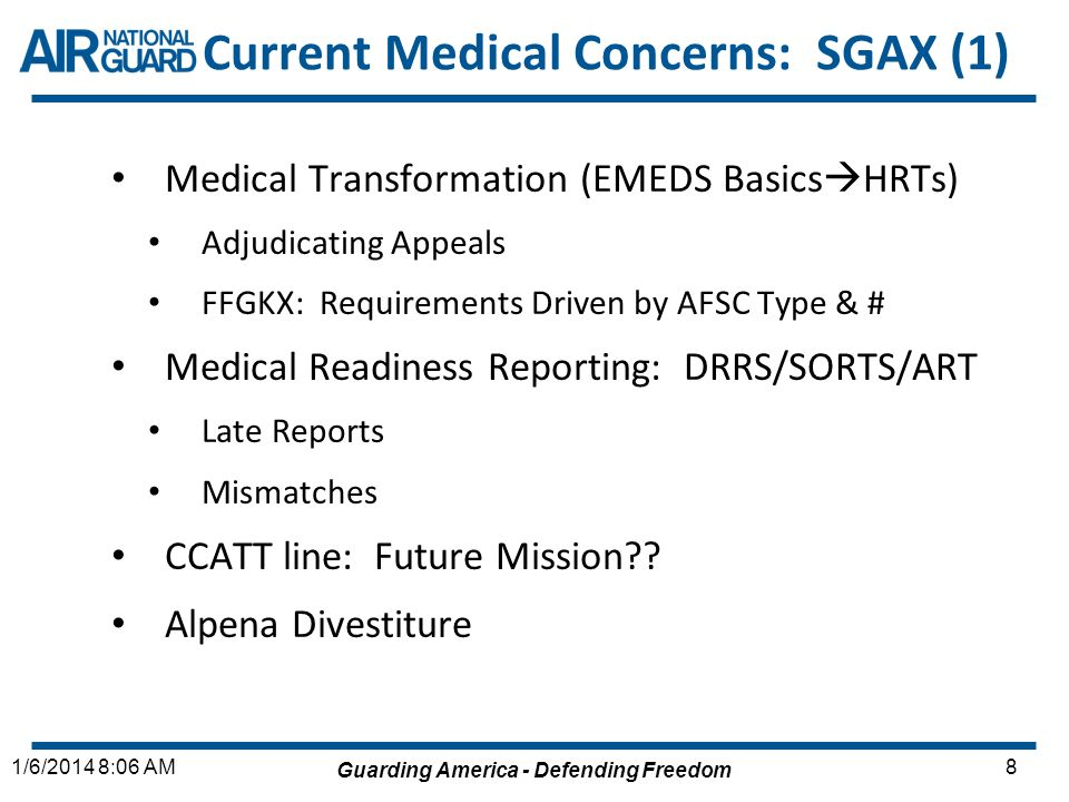 Current Medical Concerns: SGAX (1)