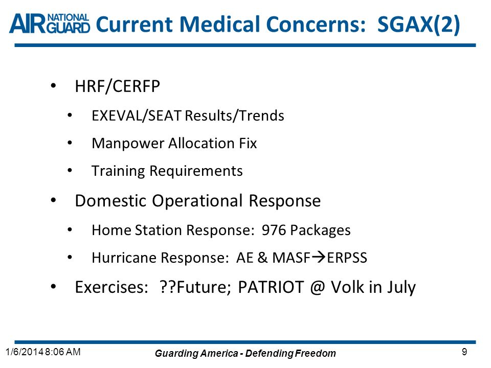 Current Medical Concerns: SGAX(2)