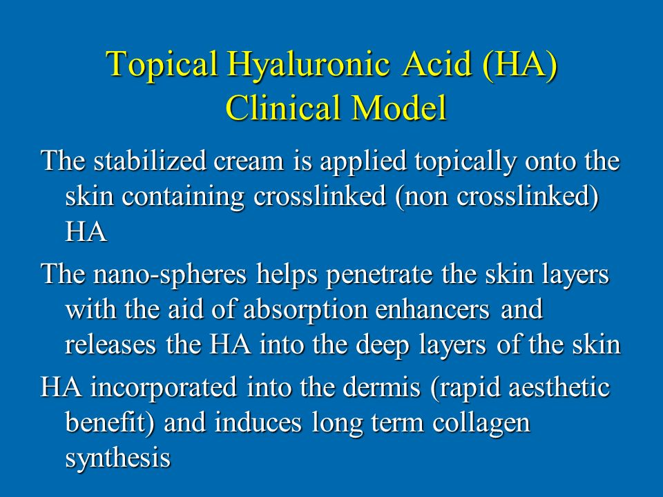 Topical Hyaluronic Acid (HA) Clinical Model