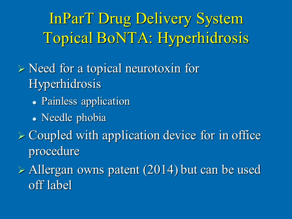InParT Drug Delivery System Topical BoNTA: Hyperhidrosis