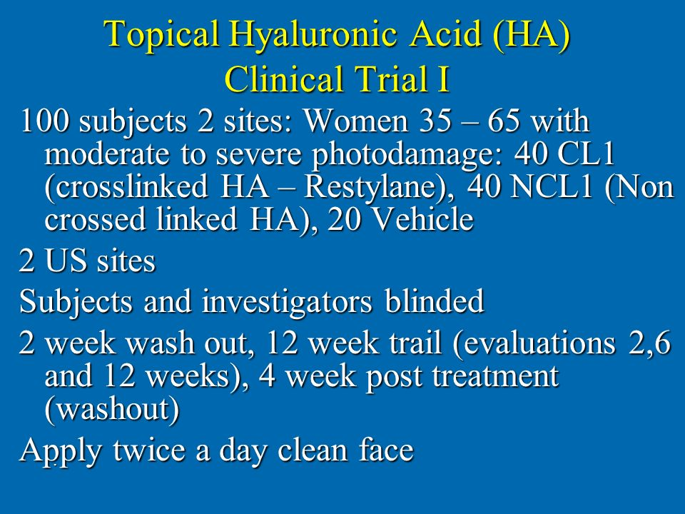 Topical Hyaluronic Acid (HA) Clinical Trial I