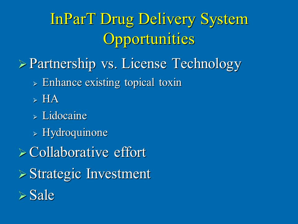 InParT Drug Delivery System Opportunities