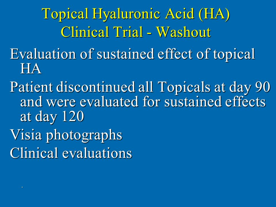 Topical Hyaluronic Acid (HA) Clinical Trial - Washout