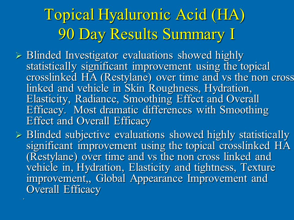 Topical Hyaluronic Acid (HA) 90 Day Results Summary I