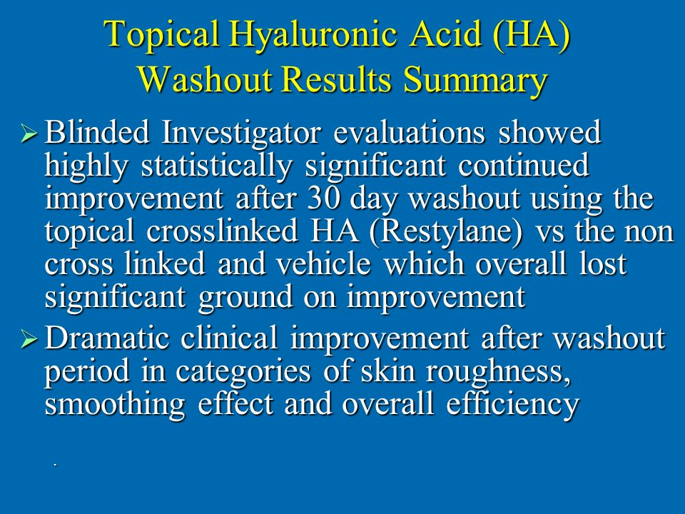 Topical Hyaluronic Acid (HA) Washout Results Summary