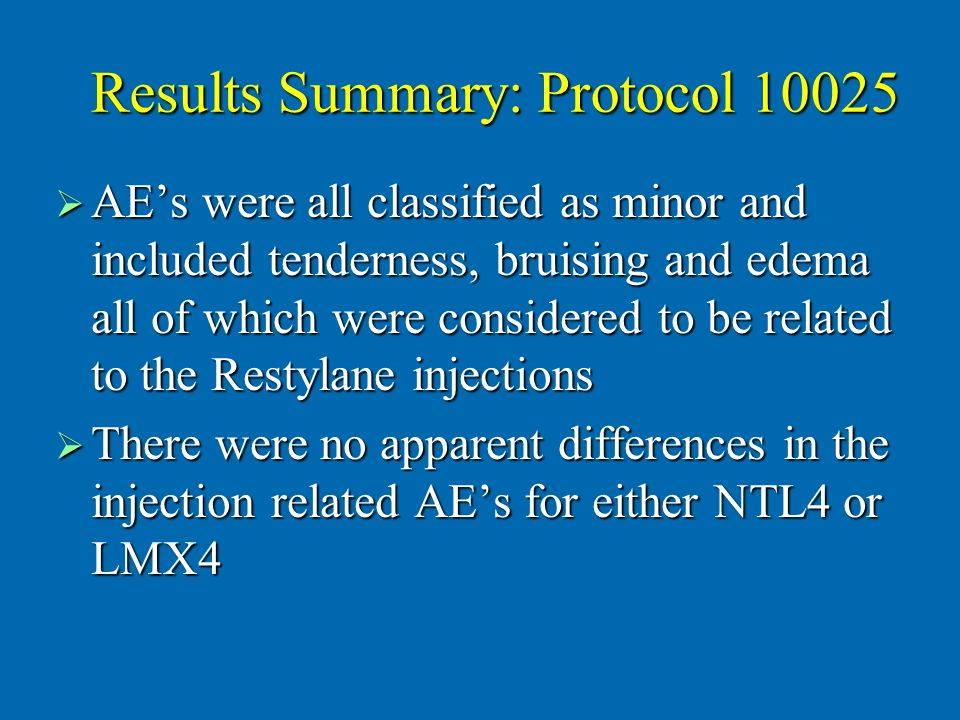 Results Summary: Protocol 10025