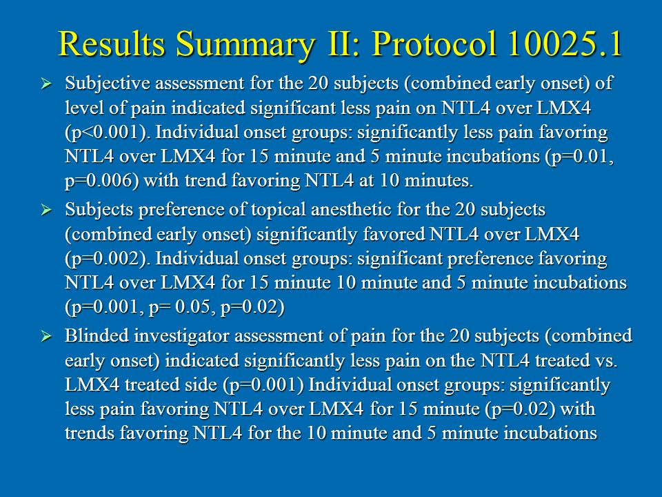 Results Summary II: Protocol 10025.1