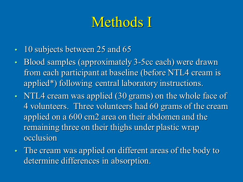 Methods I 10 subjects between 25 and 65