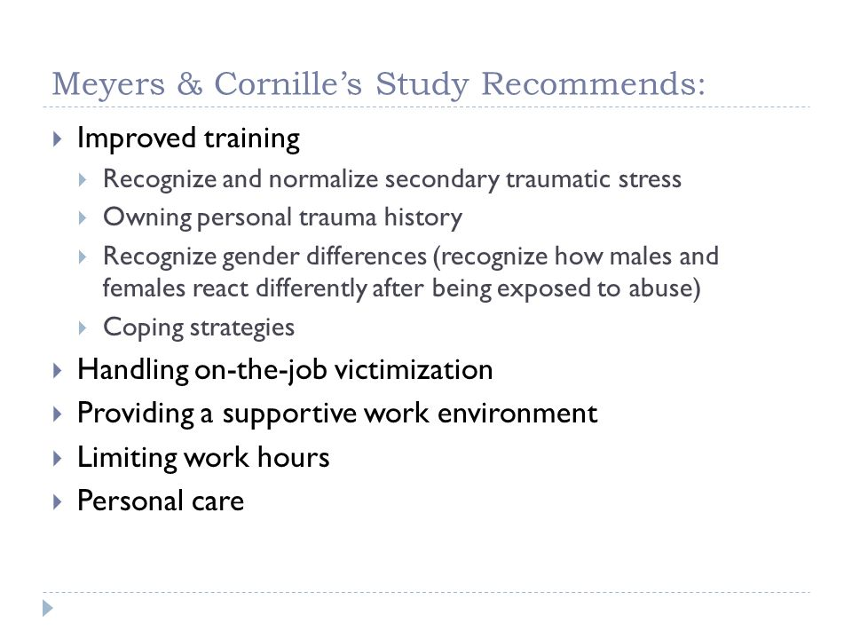 Meyers & Cornille's Study Recommends: