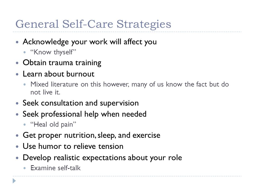 General Self-Care Strategies
