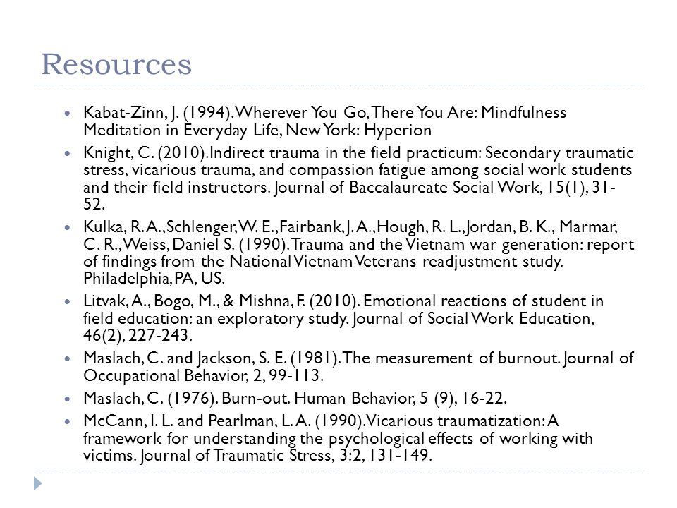 Resources Kabat-Zinn, J. (1994). Wherever You Go, There You Are: Mindfulness Meditation in Everyday Life, New York: Hyperion.