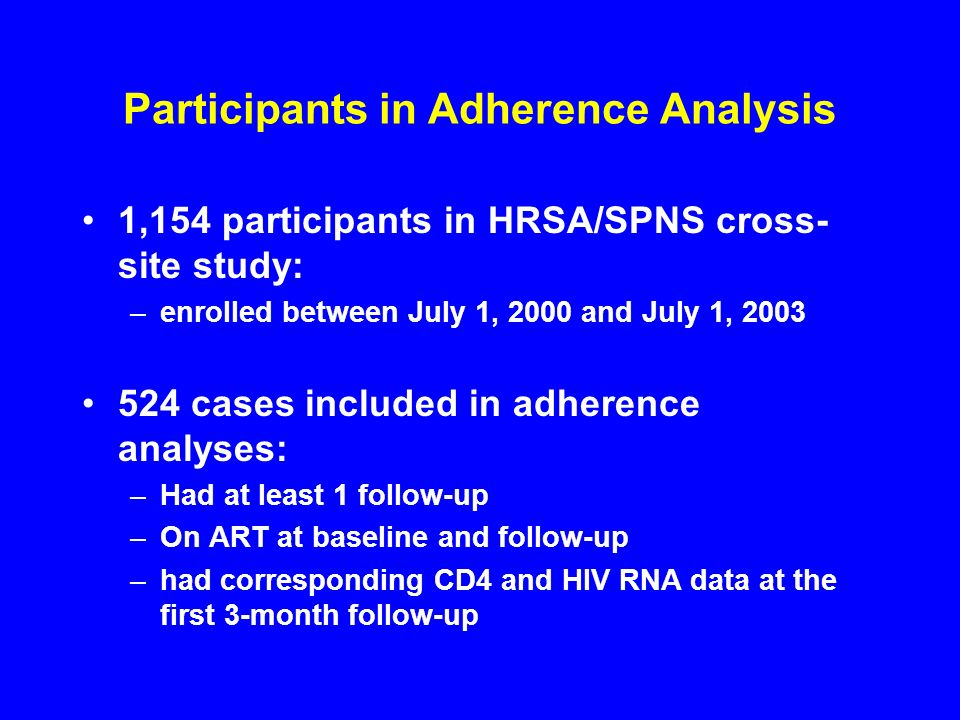 Participants in Adherence Analysis