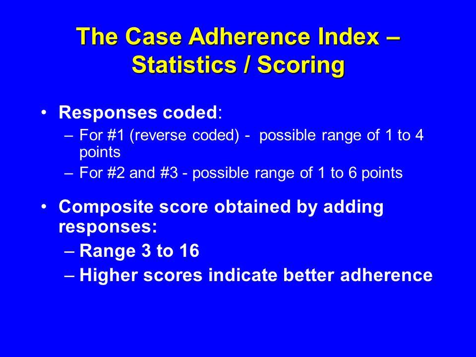 The Case Adherence Index – Statistics / Scoring