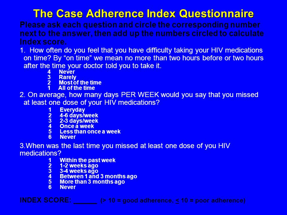 The Case Adherence Index Questionnaire