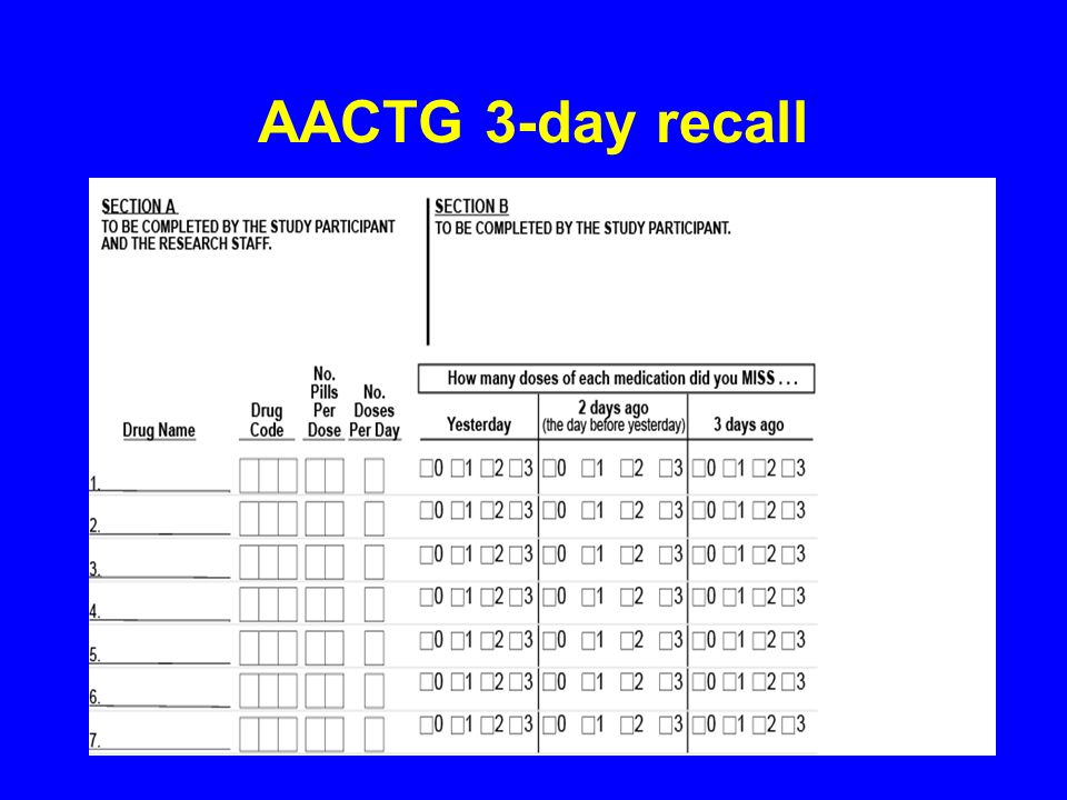 AACTG 3-day recall