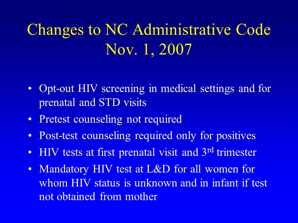 Changes to NC Administrative Code Nov. 1, 2007
