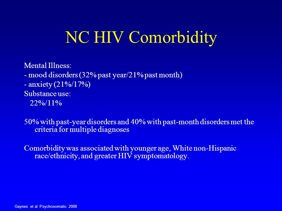 NC HIV Comorbidity Mental Illness: