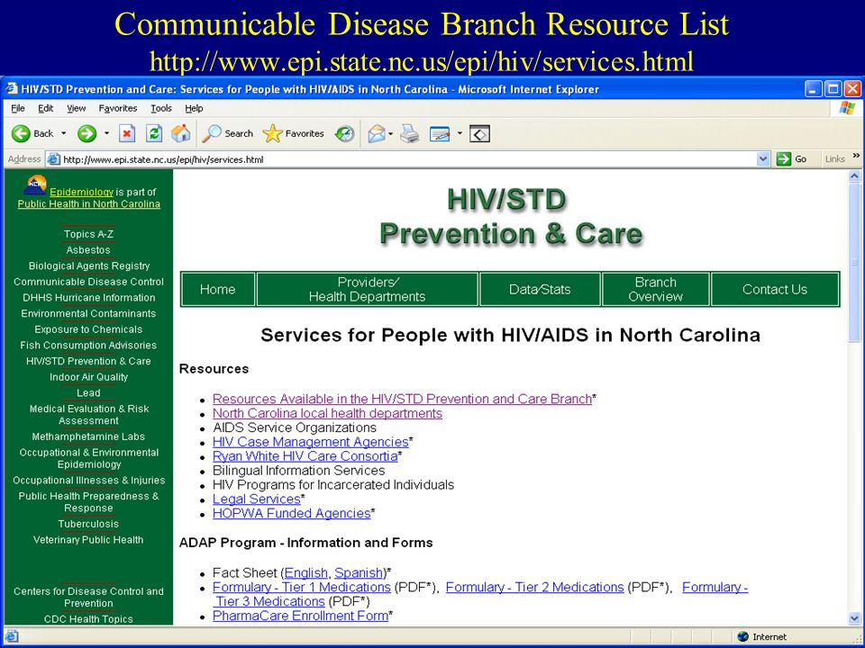 Communicable Disease Branch Resource List   epi. state. nc