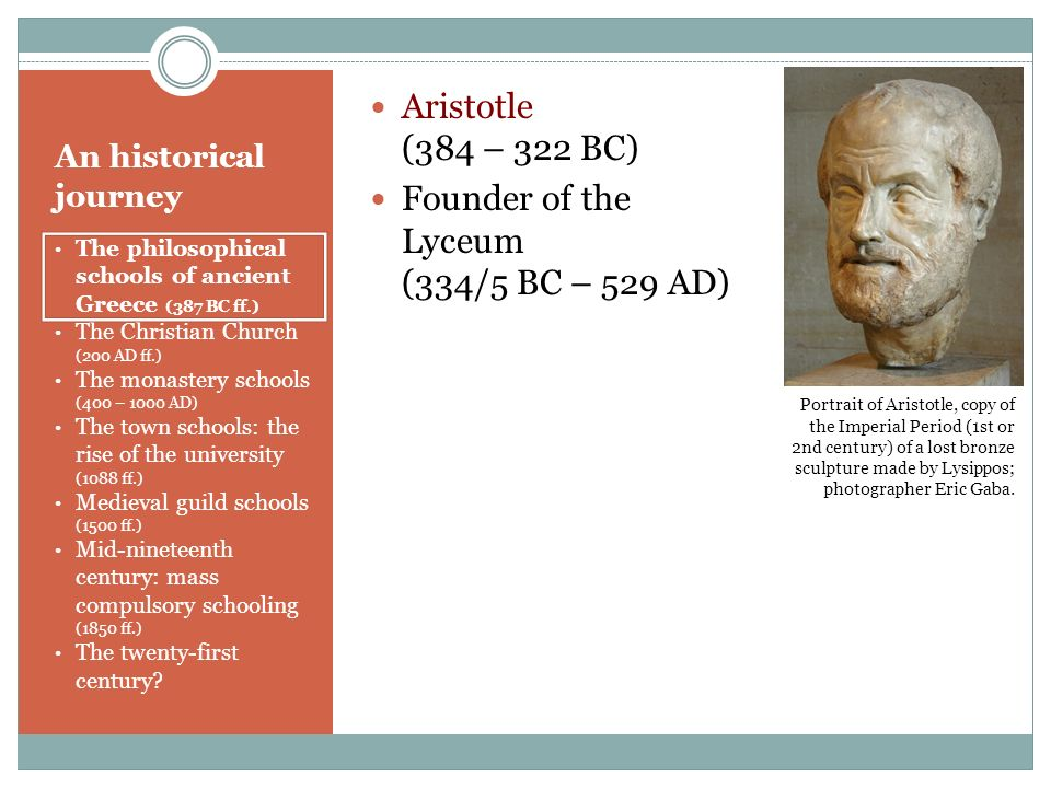 Founder of the Lyceum (334/5 BC – 529 AD)