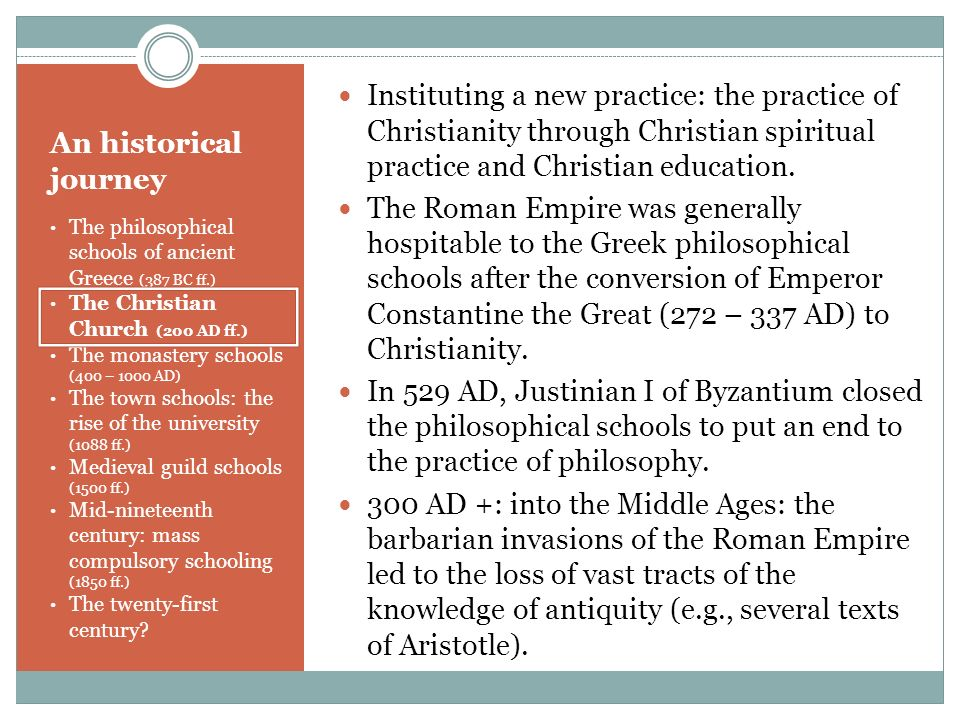 Instituting a new practice: the practice of Christianity through Christian spiritual practice and Christian education.