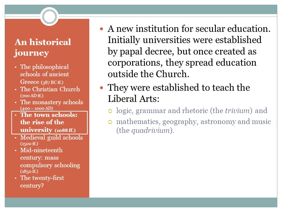They were established to teach the Liberal Arts: