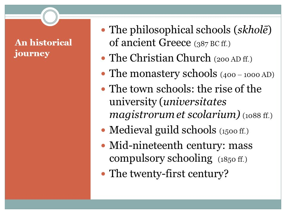 The philosophical schools (skholē) of ancient Greece (387 BC ff.)