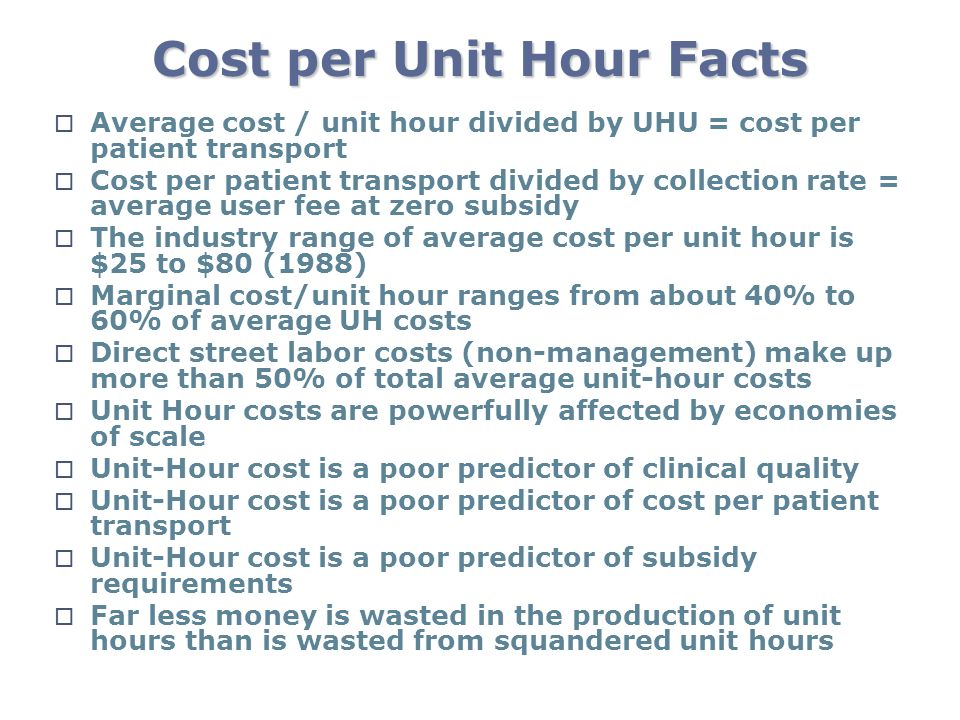 Cost per Unit Hour Facts