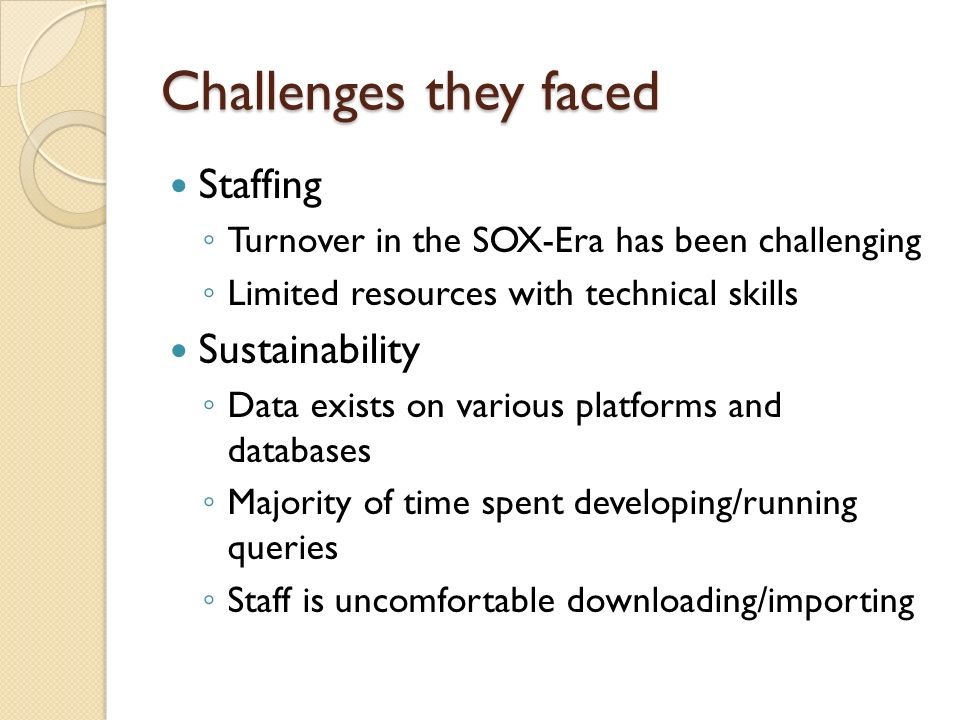 Challenges they faced Staffing Sustainability