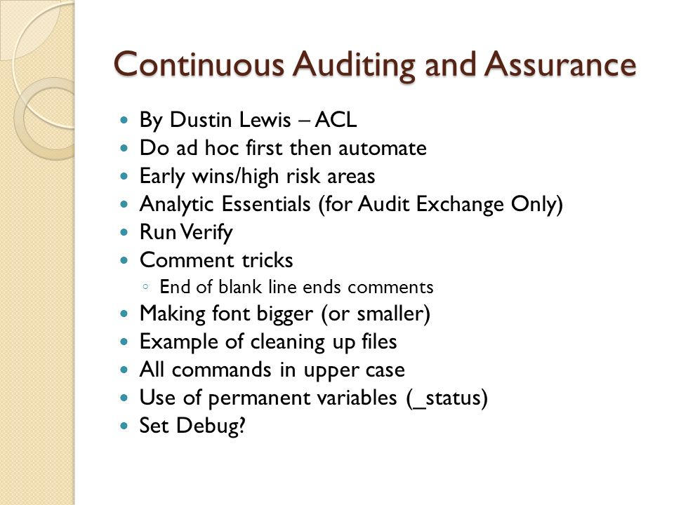 Continuous Auditing and Assurance