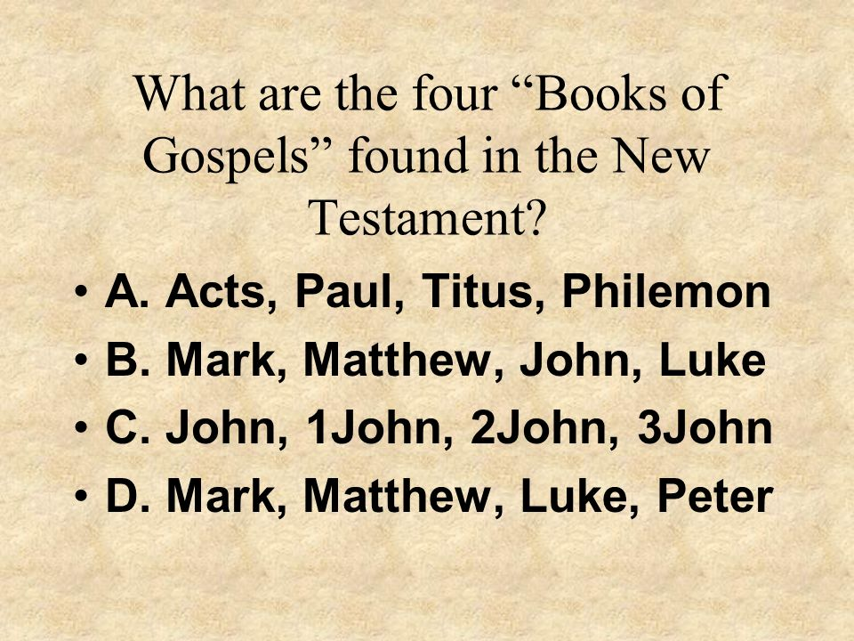 What are the four Books of Gospels found in the New Testament