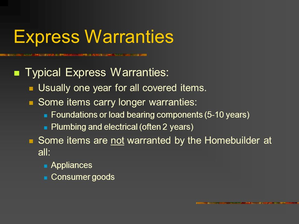 Express Warranties Typical Express Warranties: