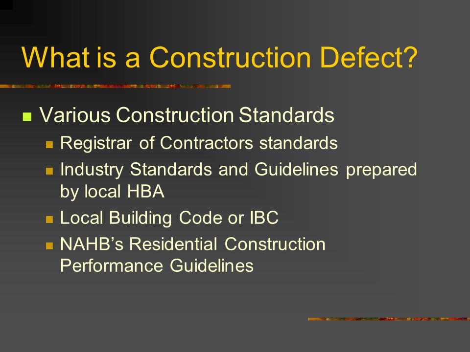 What is a Construction Defect