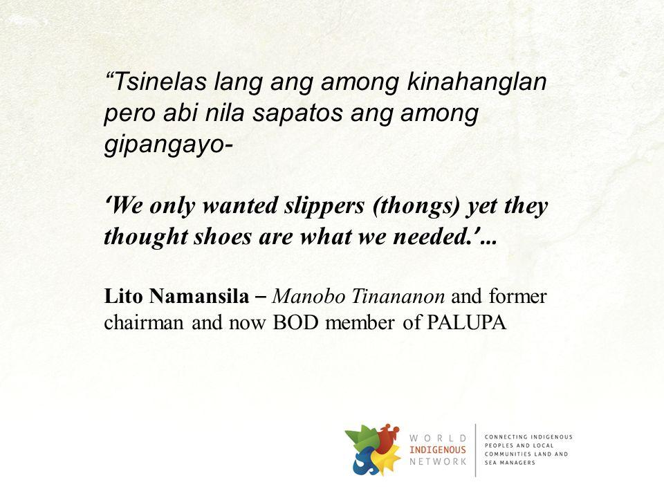 Tsinelas lang ang among kinahanglan pero abi nila sapatos ang among gipangayo-